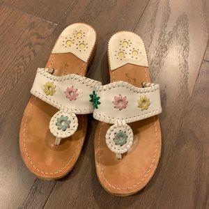 Jack Roger Whipstitch White Multi Sandals